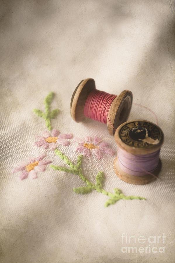 Antique Photograph - Vintage Cotton Reels by Jan Bickerton