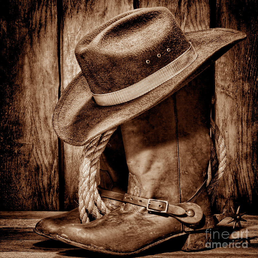 Vintage Cowboy Boots Photograph By American West Decor By