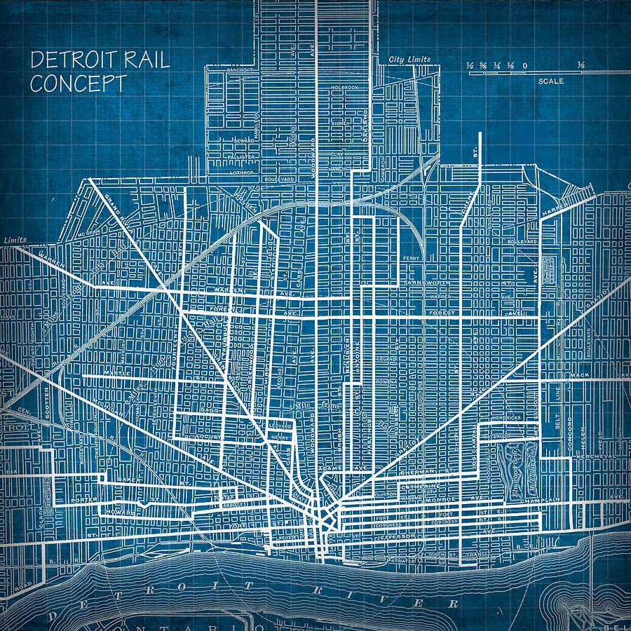 Vintage Detroit Rail Concept Street Map Blueprint Plan Mixed Media ...