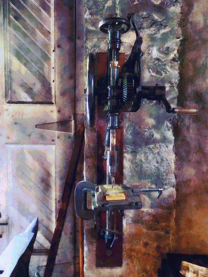 Steampunk Photograph - Vintage Drill Press by Susan Savad