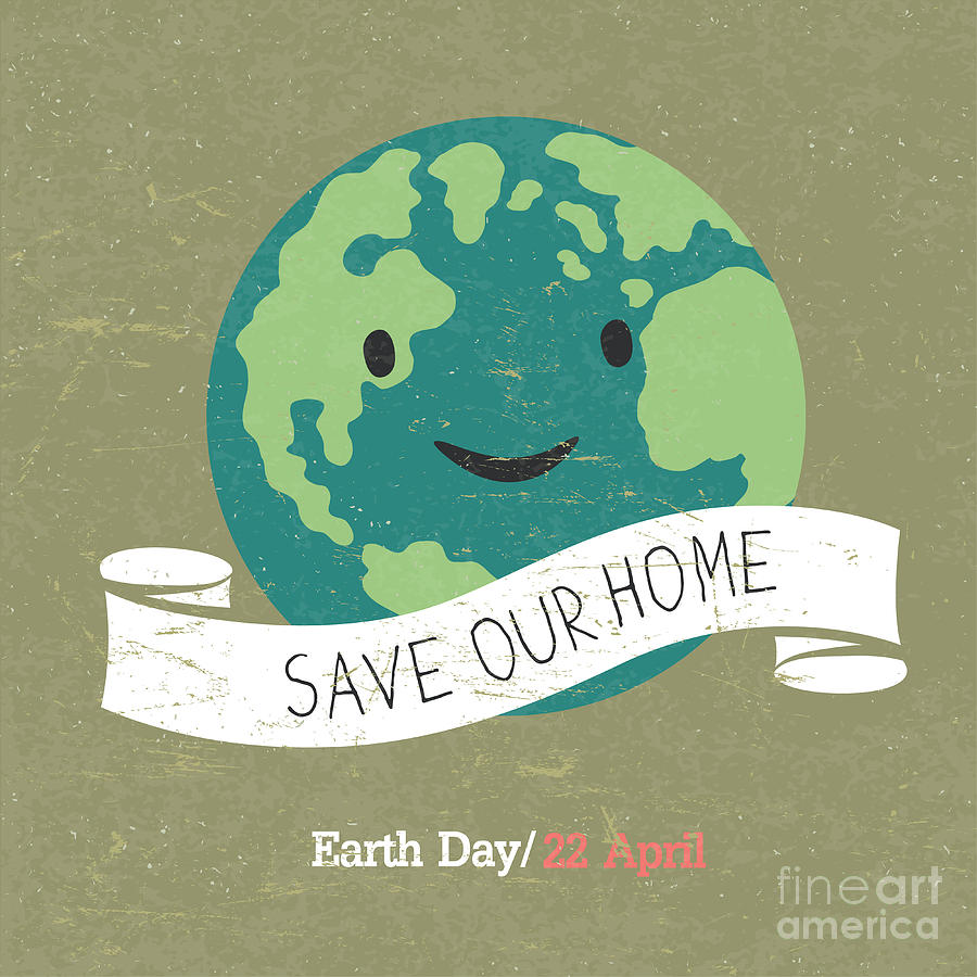 22 Digital Art - Vintage Earth Day Poster. Cartoon Earth by Pashabo
