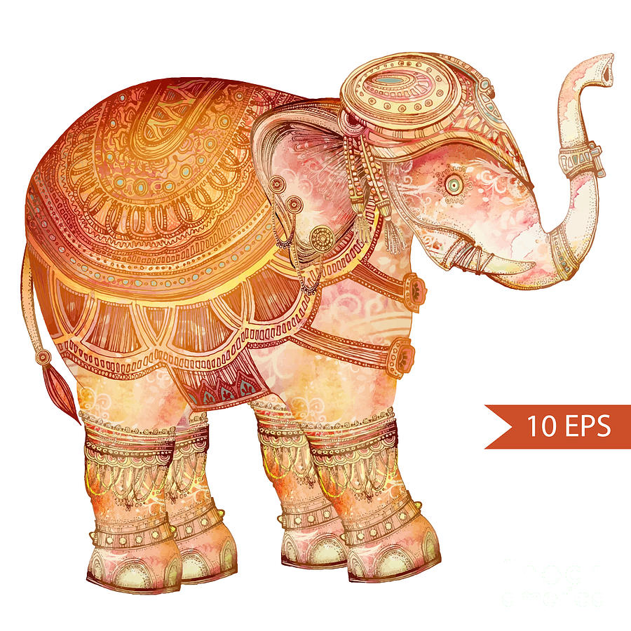 Symbol Digital Art - Vintage Elephant Illustration. Hand by Polina Lina