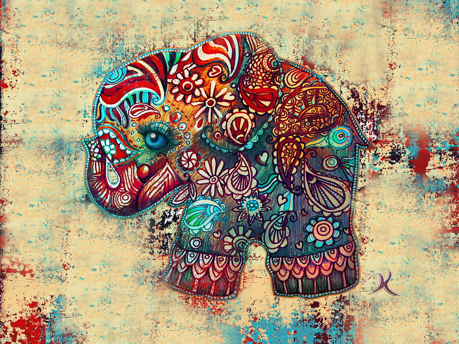 Elephant Mask Painting - Vintage Elephant by Karin Taylor