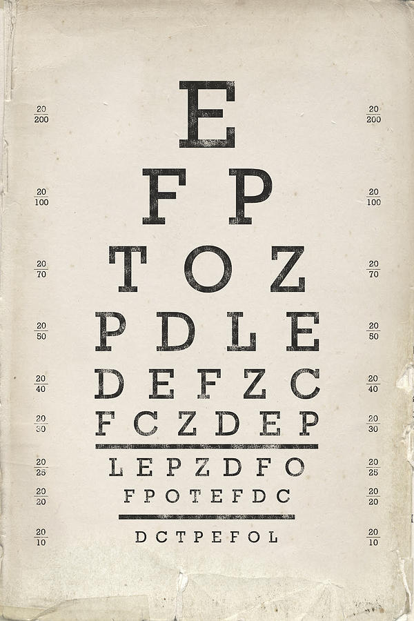 Vintage Eye Chart Drawing By Industrial Prints