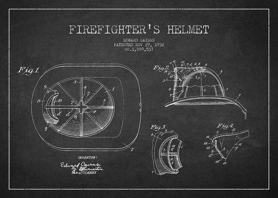 Firefighter Digital Art - Vintage Firefighter Helmet Patent Drawing From 1932 by Aged Pixel