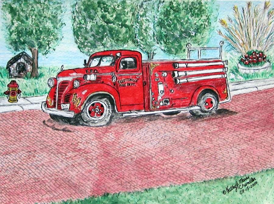 Firetruck Painting - Vintage Firetruck by Kathy Marrs Chandler