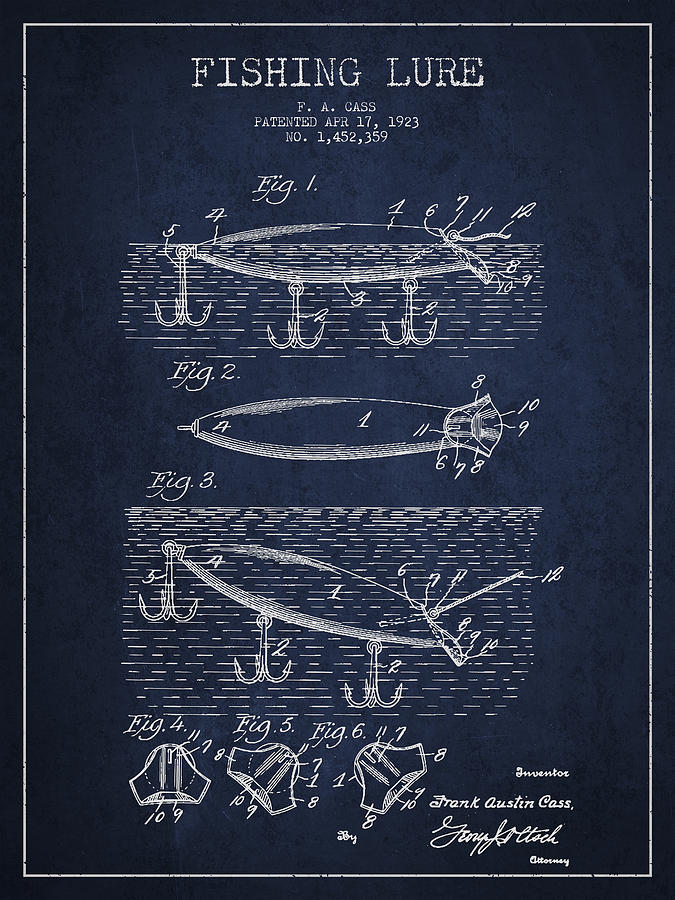 Fishing Tackle Drawing - Vintage Fishing Lure Patent Drawing From 1923 by Aged Pixel