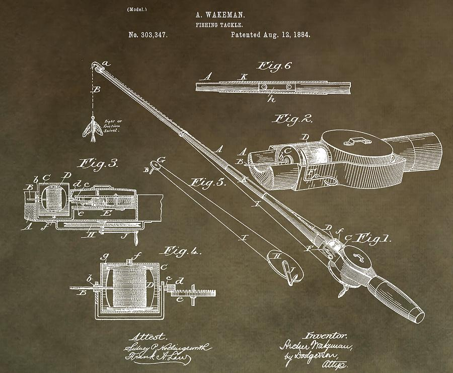 Vintage fishing tackle patent digital art by dan sproul for Vintage fishing tackle