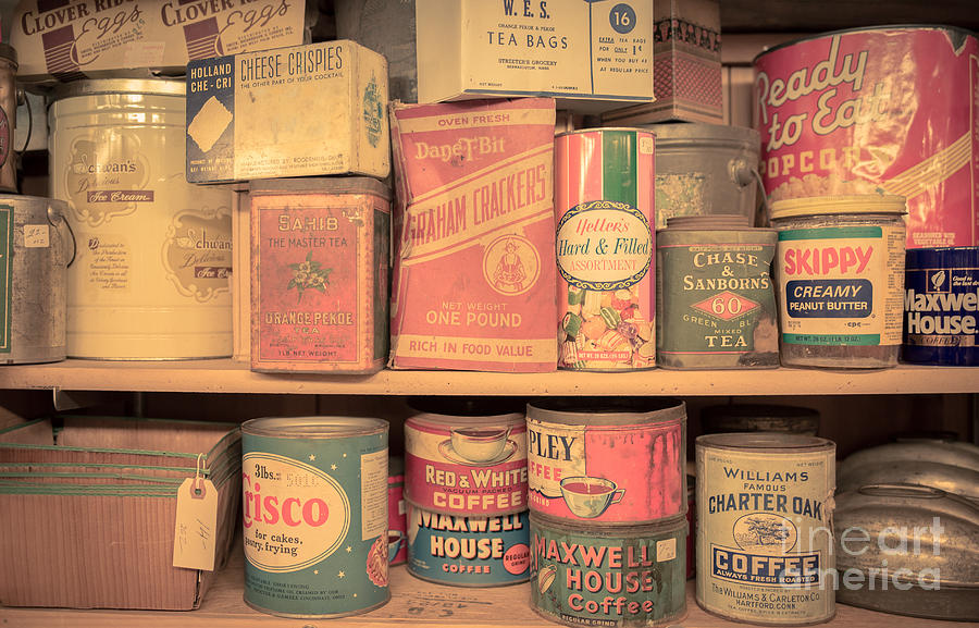 Food Photograph - Vintage Food Pantry by Edward Fielding