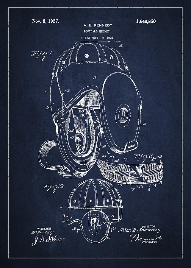 Football Digital Art - Vintage Football Helment Patent Drawing From 1927 by Aged Pixel