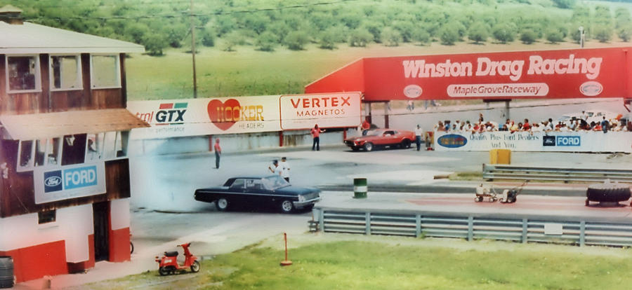 Fords Photograph - Vintage Ford Drag Racing by Thomas  MacPherson Jr