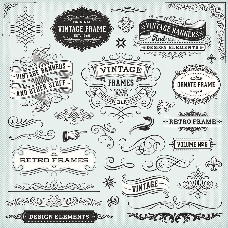 Vintage Frames And Banners Drawing by Aleksandarvelasevic