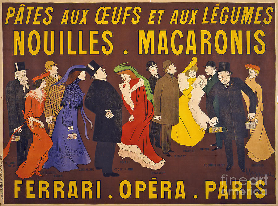 Ferrari Photograph - Vintage French Paris Opera Pasta Poster by Edward Fielding