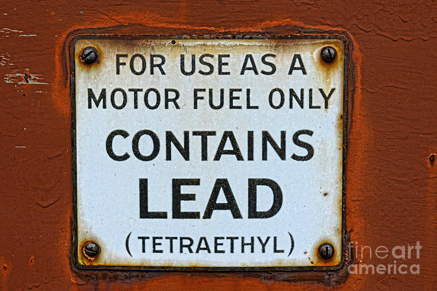 Contains Lead Metal Gas Pump Sign