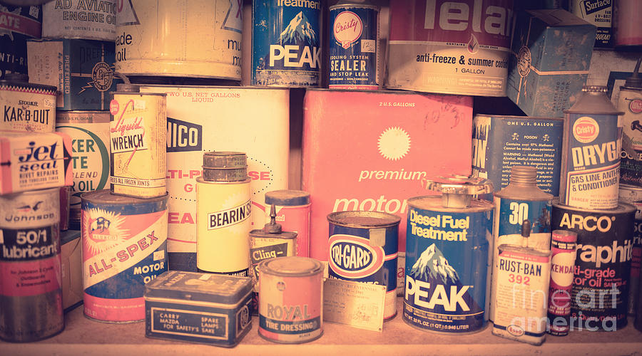 Auto Photograph - Vintage Gas Service Station Products by Edward Fielding