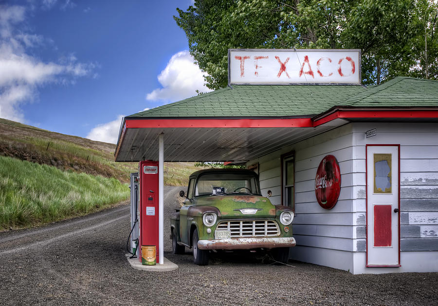 Trucks Photograph - Vintage Gas Station - Chevy Pick-up by Nikolyn McDonald