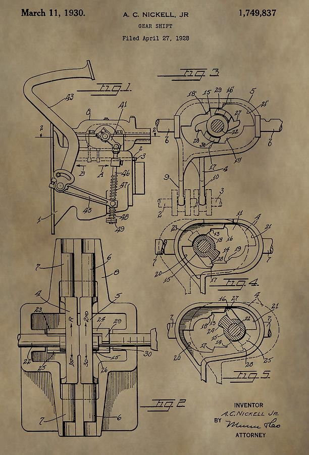 Gear Shift Mixed Media - Vintage Gear Shift Patent by Dan Sproul