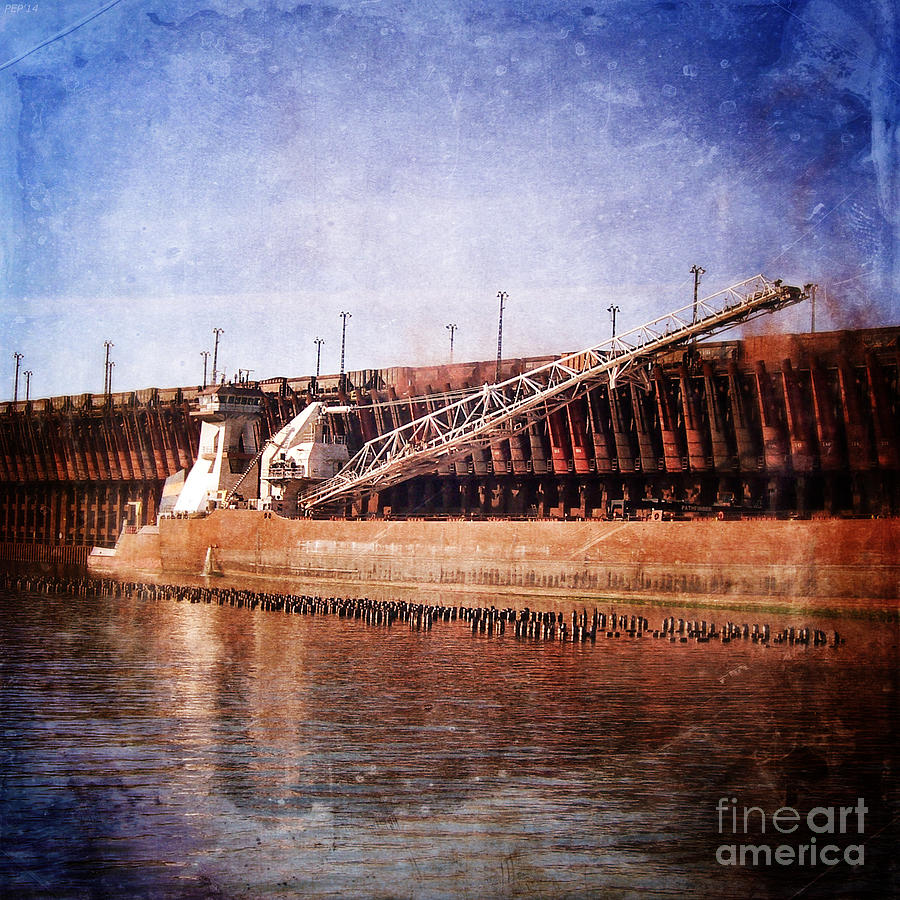 Vintage Photography Photograph - Vintage Great Lakes Freighter by Phil Perkins