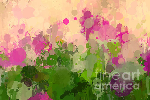 Gouache Digital Art - Vintage Green And Purple Brush Strokes by Shekaka