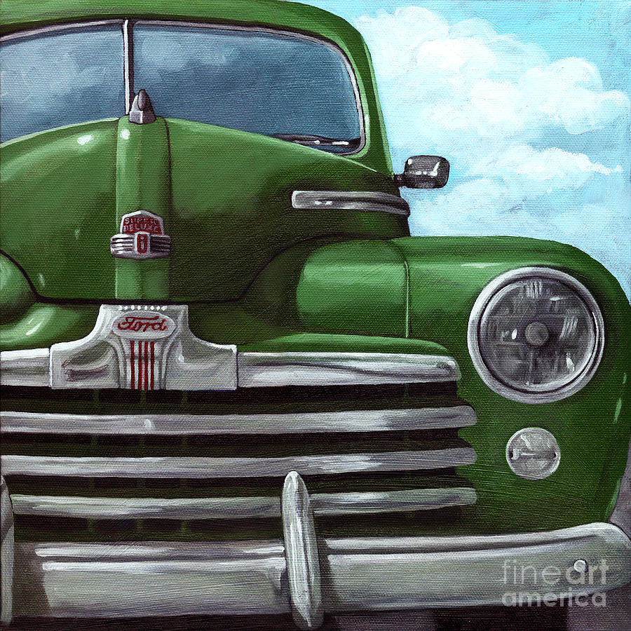 Car Painting - Vintage Green Ford by Linda Apple