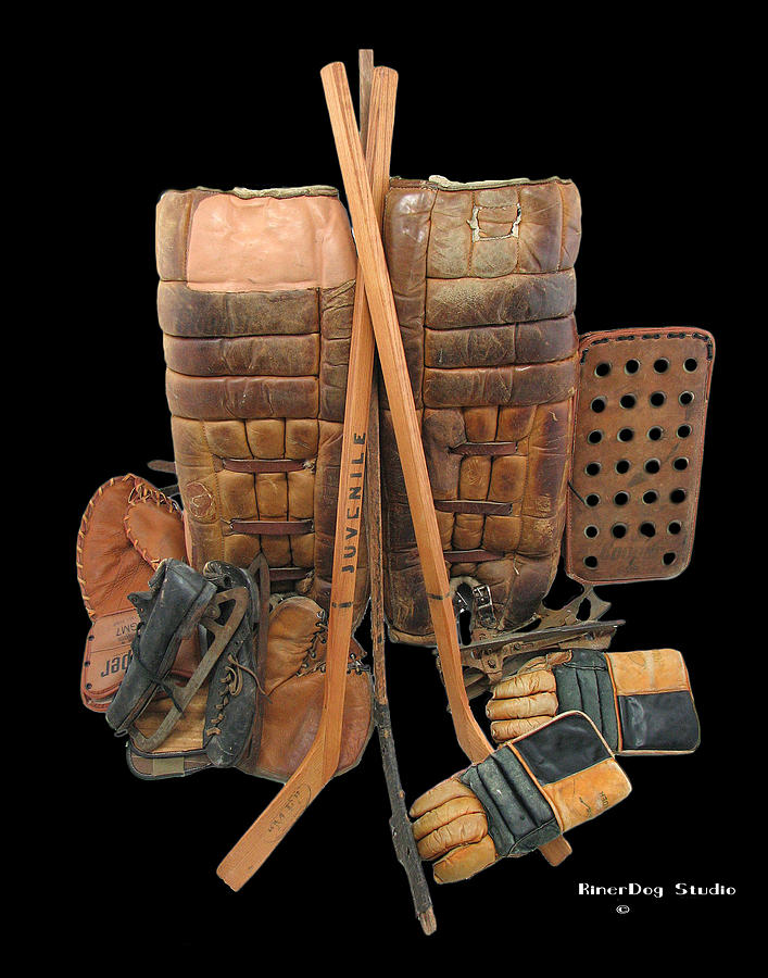 Vintage Hockey Photograph - Vintage Hockey Equipment #2 by Spencer Hall