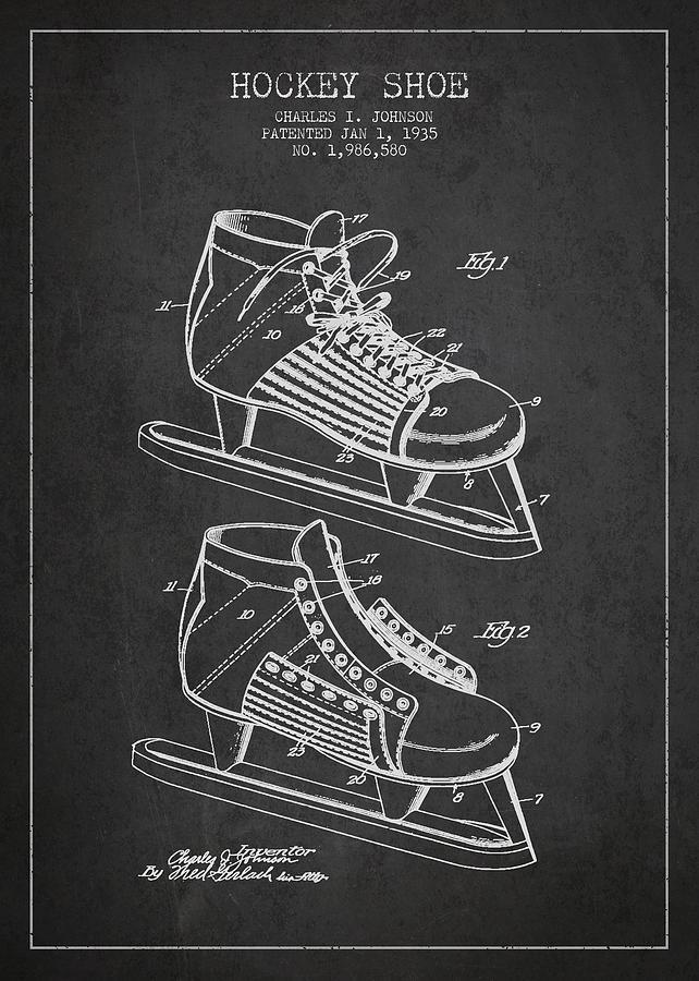 Vintage Hockey Shoe Patent Drawing From 1935 Digital Art