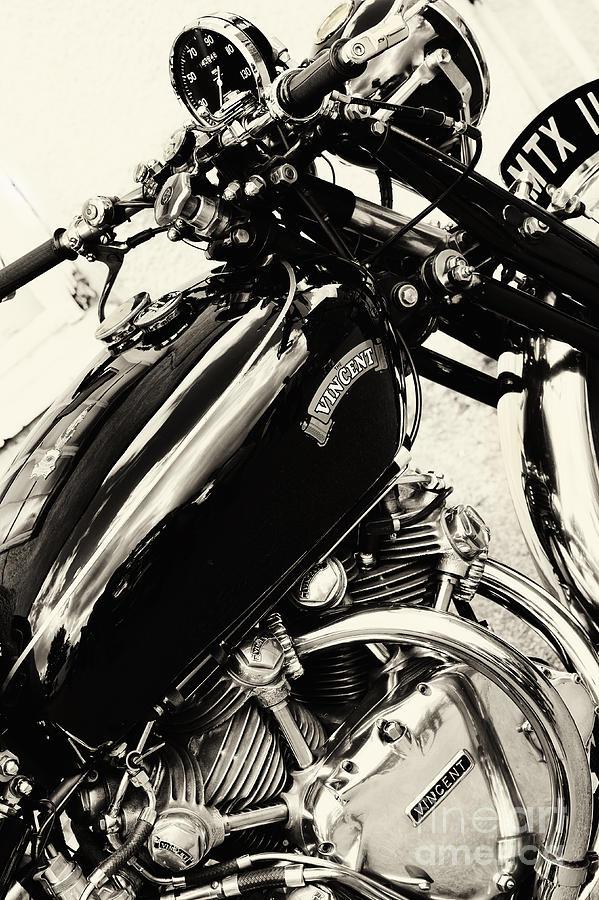 Vintage Photograph - Vintage HRD Vincent Series C Black Shadow by Tim Gainey
