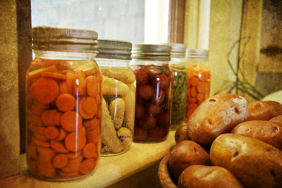Home Photograph - Vintage Jars On A Kitchen Window by Eti Reid