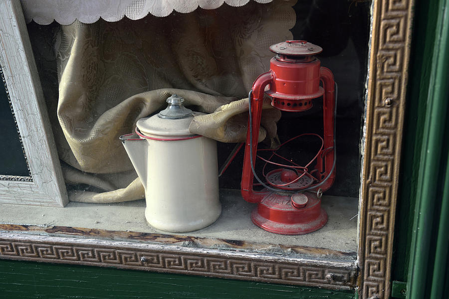 Vintage Kerosene Lamp And Vintage Photograph by Feifei Cui-paoluzzo