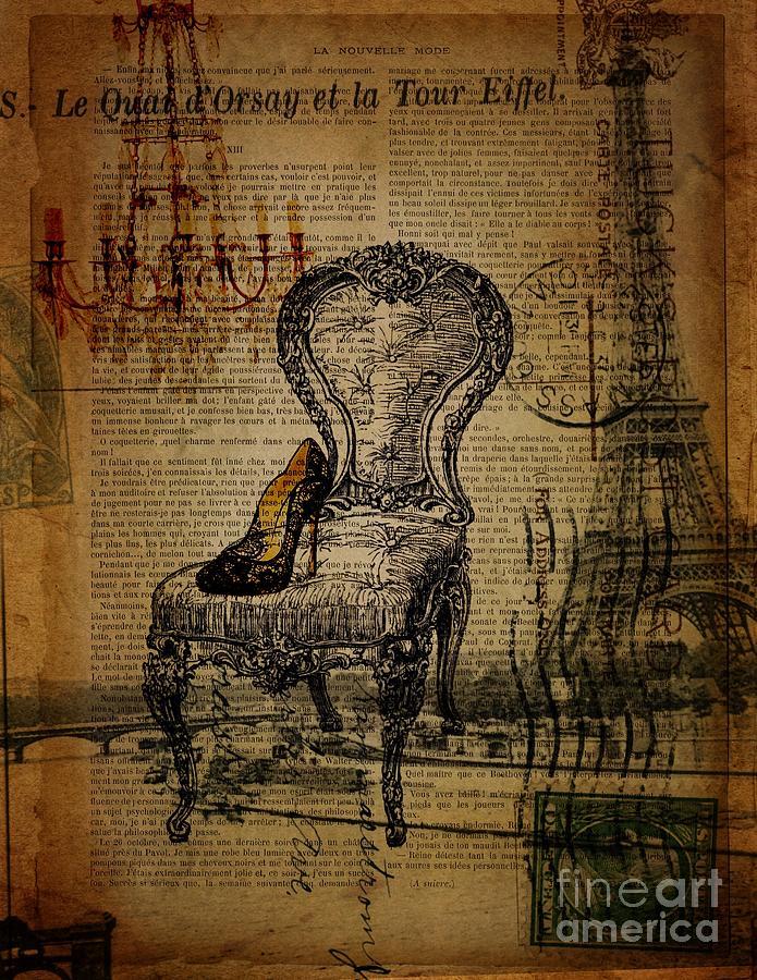 Stiletto Digital Art - Vintage Lace Stiletto Rococo Chair Chandelier Paris Eiffel Tower by Cranberry Sky