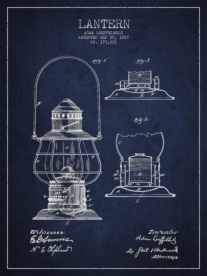 Vintage Lantern Patent Drawing From 1887 Digital Art By Aged Pixel