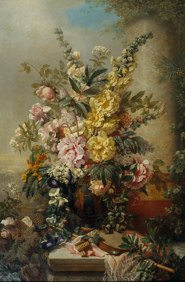 Fine Art America & Vintage Large Vase With Flowers C. Mid 1880s by Sheila Savage