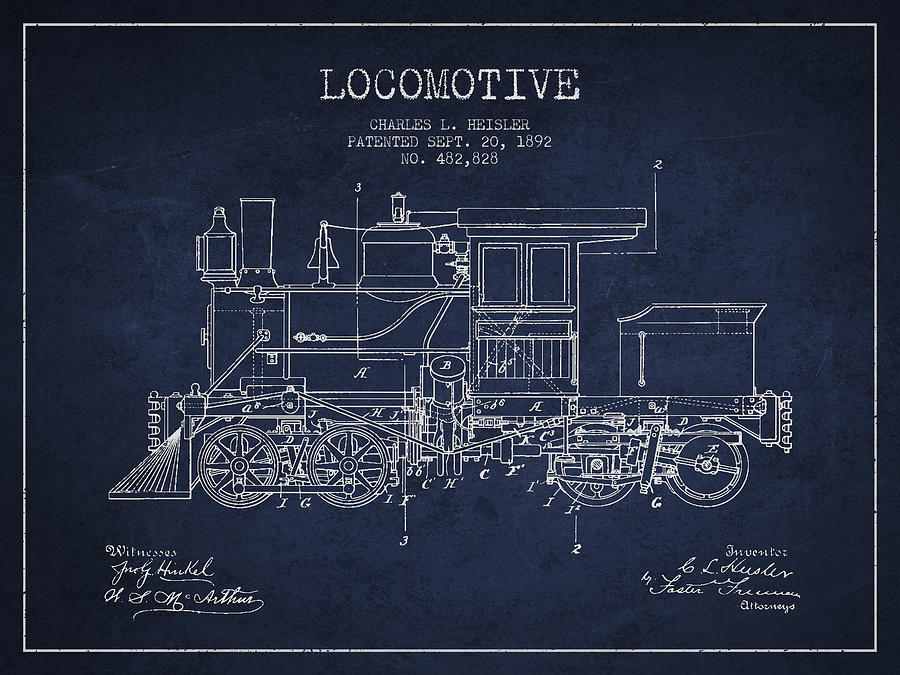 Locomotive Digital Art - Vintage Locomotive Patent From 1892 by Aged Pixel