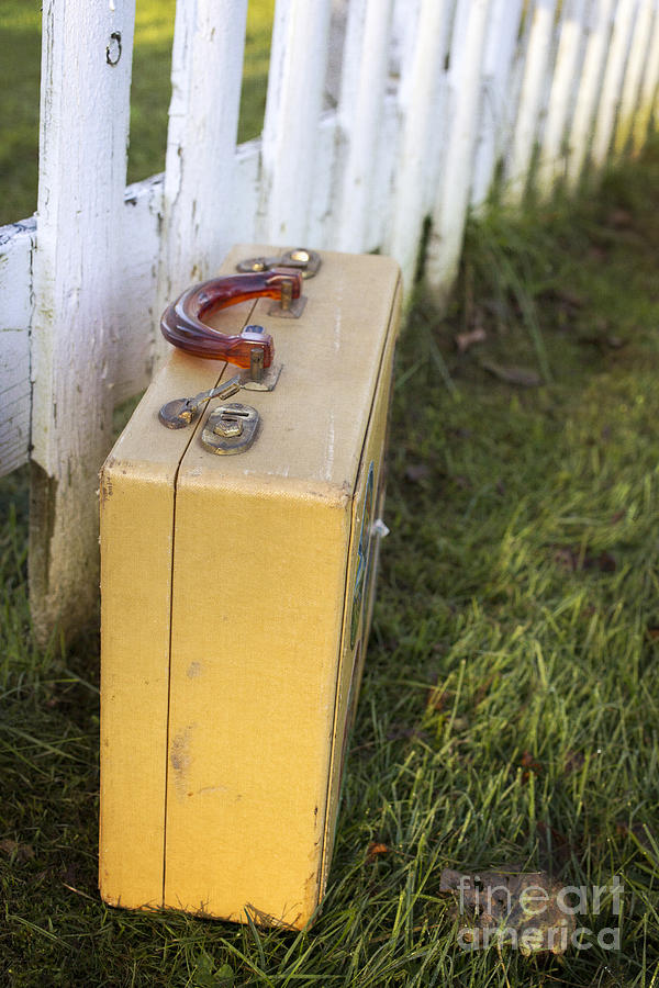 Picket Photograph - Vintage Luggage Left By A White Picket Fence by Edward Fielding