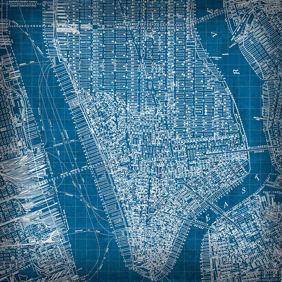 Vintage Manhattan Street Map Blueprint Mixed Media By