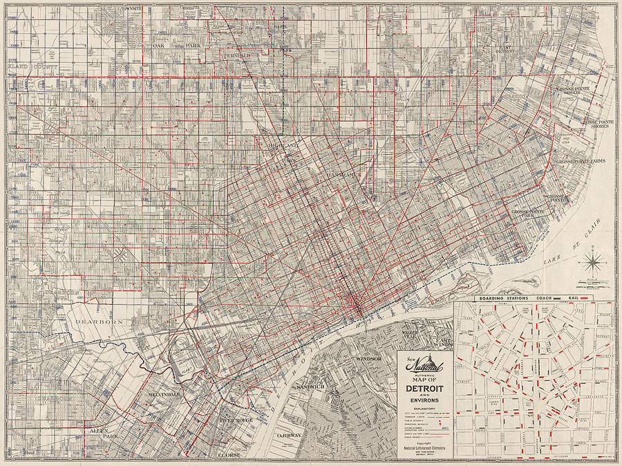 Vintage Map Of Detroit Michigan From 1947 Drawing By Blue Monocle