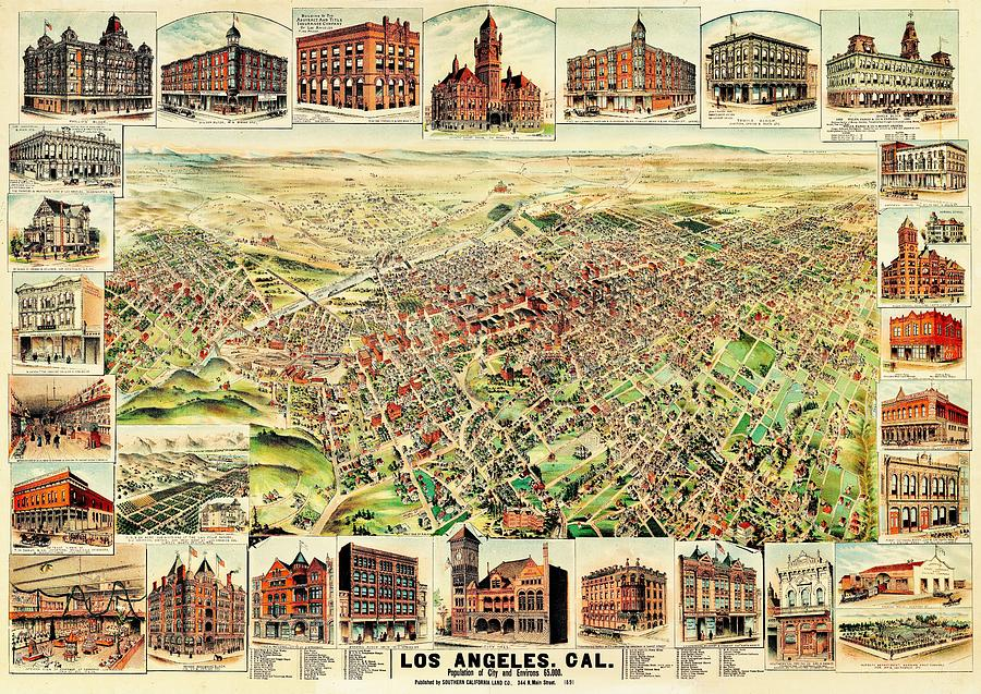 Vintage Map Of Los Angeles Photograph by Benjamin Yeager