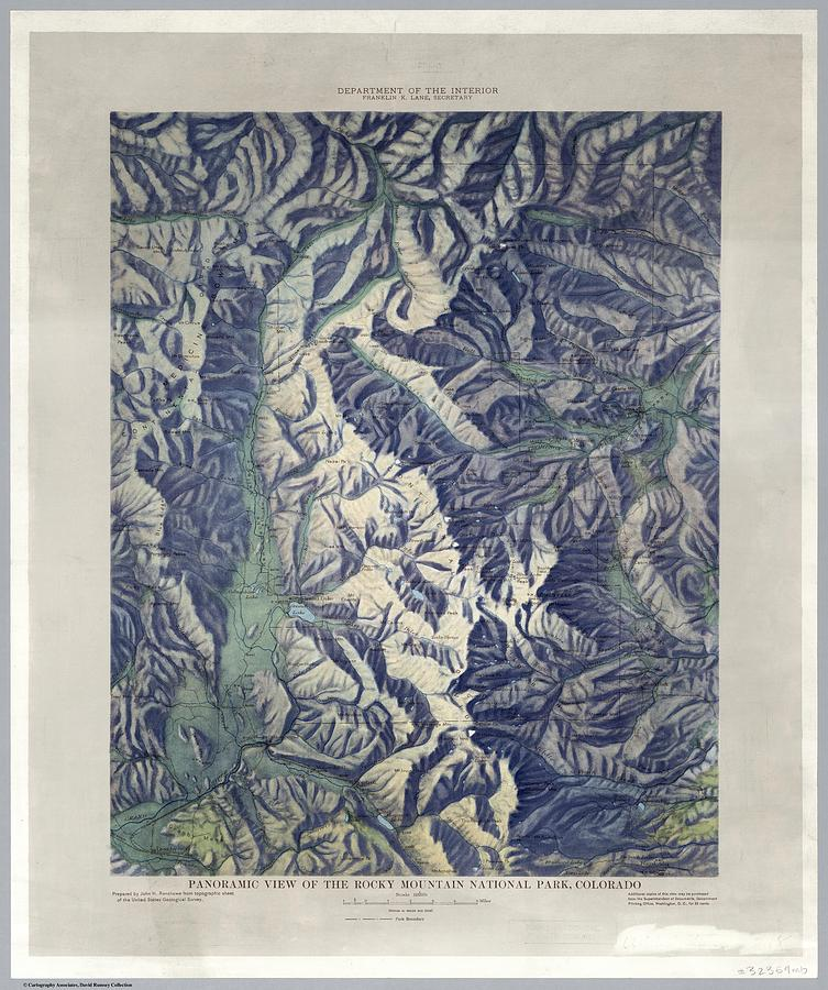 Vintage Map Of Rocky Mountain National Park - 1914 Drawing