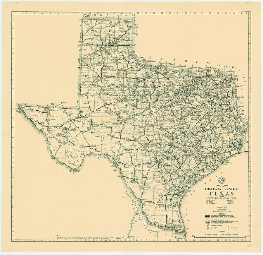 Vintage Map Of Texas 1933 Photograph By Georgia Fowler