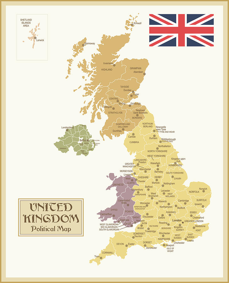 Vintage Map Of United Kingdom Digital Art by Pop jop