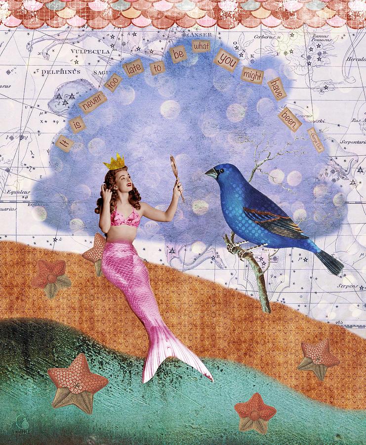 Vintage Collage Digital Art - Vintage Mermaid Bird Collage by Cat Whipple