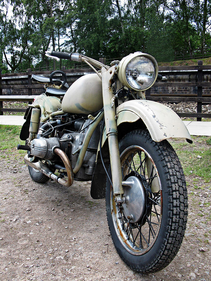 Vintage Photograph - Vintage Military Motorcycle by Tom Conway