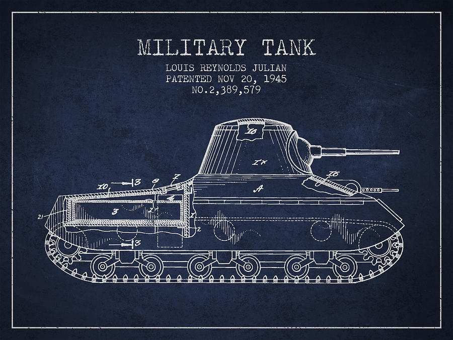 Military Vehicle Digital Art - Vintage Military Tank Patent From 1945 by Aged Pixel