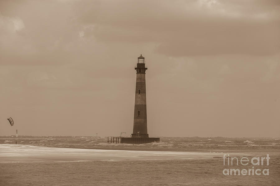 Vintage Morris Island Lighthouse Photograph