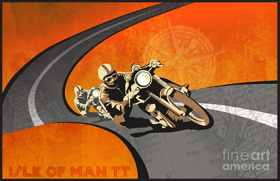 Cafe Racer Painting - Vintage Motor Racing  by Sassan Filsoof