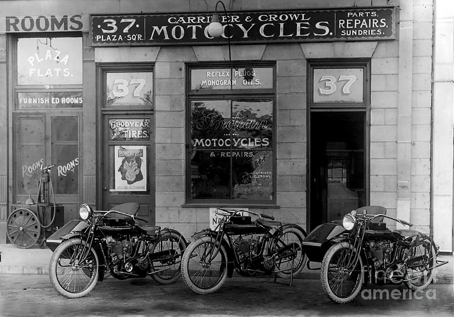 Indian Photograph - Vintage Motorcycle Dealership by Jon Neidert