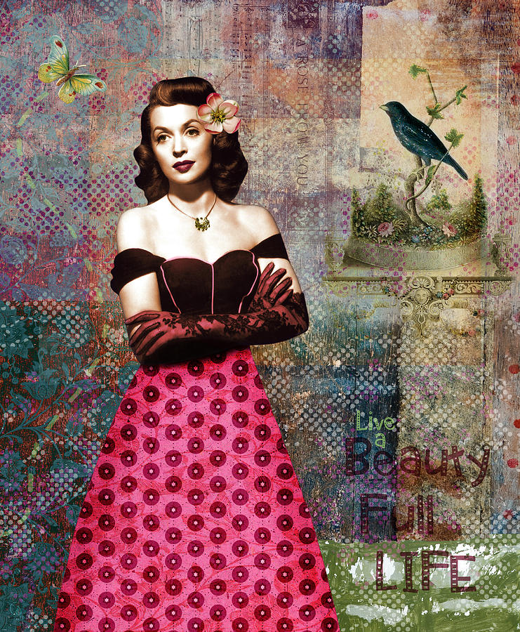 Vintage Collage Digital Art - Vintage Movie Star Beauty Full Life by Cat Whipple