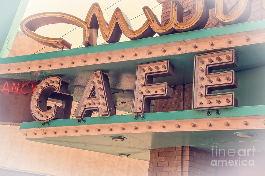 Neon Photograph - Vintage Neon Cafe Sign Livingston Montana by Edward Fielding
