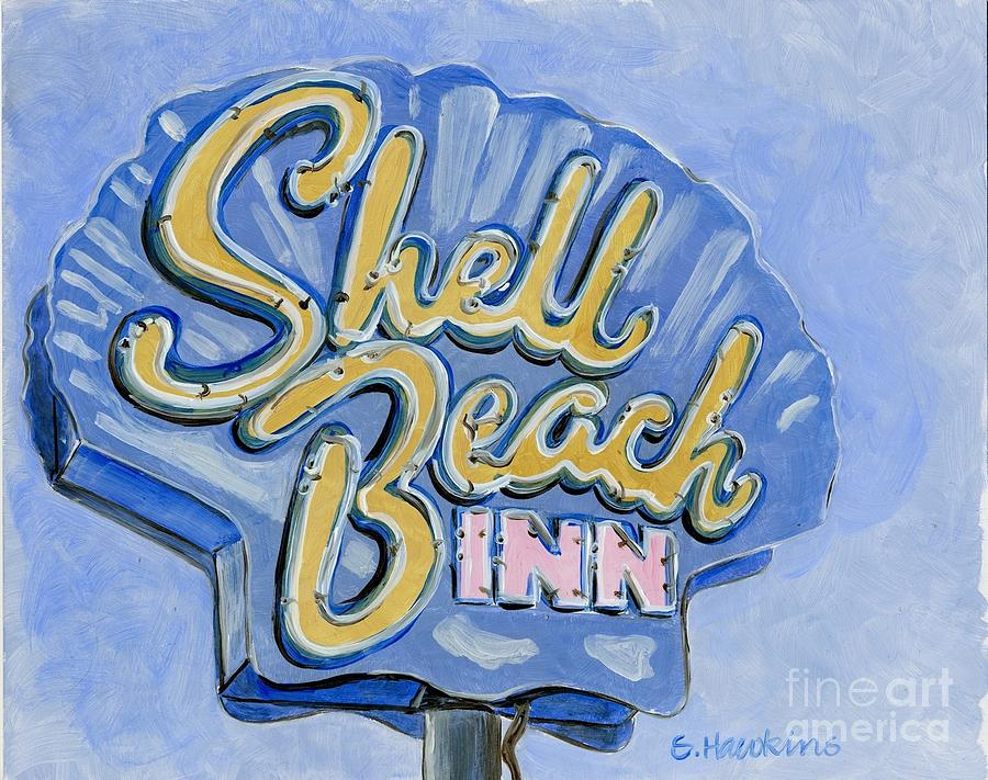 Vintage Neon Shell Beach Inn Painting By Sheryl Heatherly Hawkins