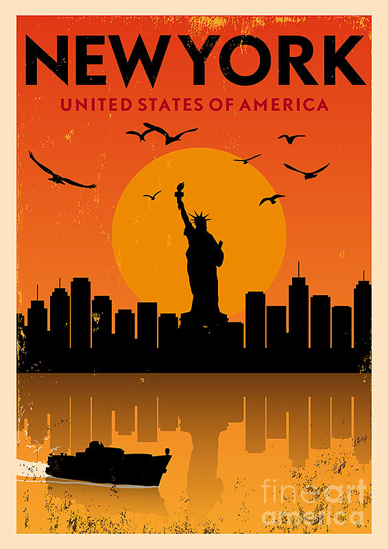 Typography Digital Art - Vintage New York Poster by Avny